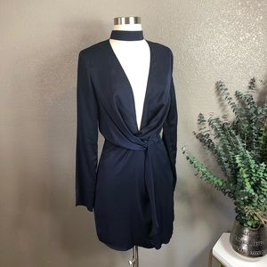 Missguided deep plunge faux wrap mini dress 2